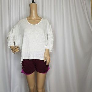 CAbi Waverly dolman sleeve White linen blouse M